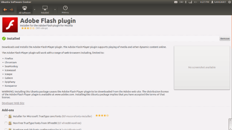 Installing Adobe flash Player Via Ubuntu Software Centre