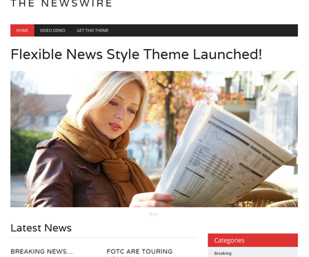 The Newswire: Free Responsive WordPress Theme In Red, While & Black Colors