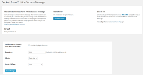Contact Form - 7 Hide Success Message