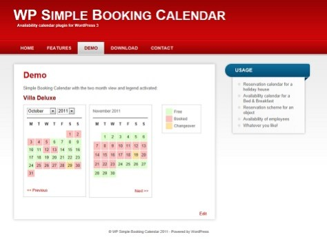WP Simple Booking Calendar 1