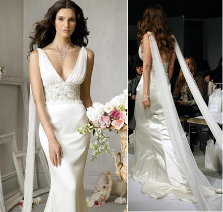 white silk wedding dress gown