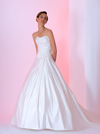 classic A-line satin princess wedding gown
