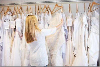 second wedding dresses on rack