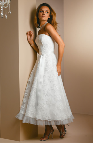 sleeveless tea length ivory wedding dresses