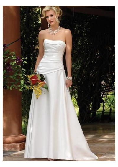 sweep train white summer wedding dress