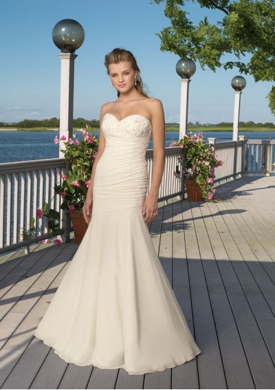 white sleeveless wedding dress with court train
