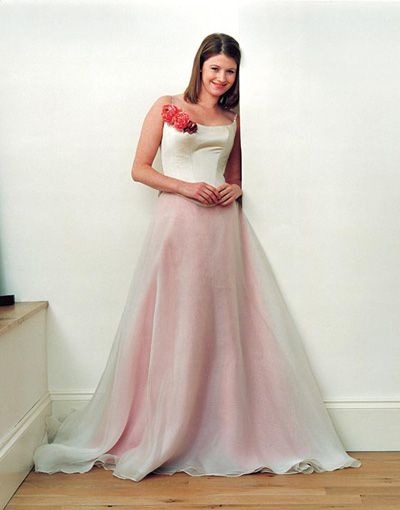 silk pink wedding dress