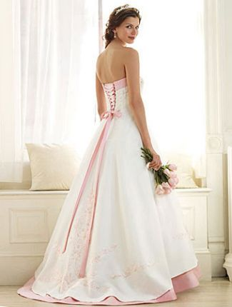 pink wedding dress with corset