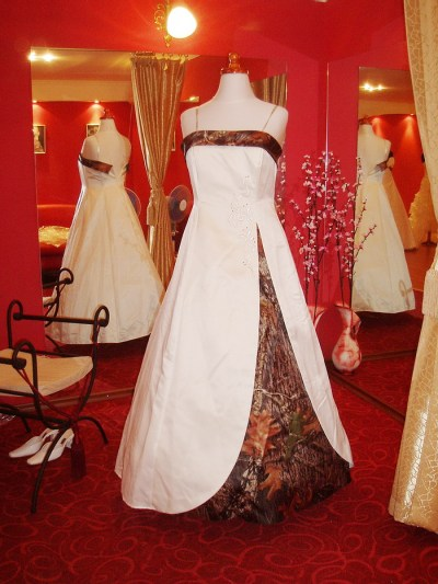 white camouflage wedding dress