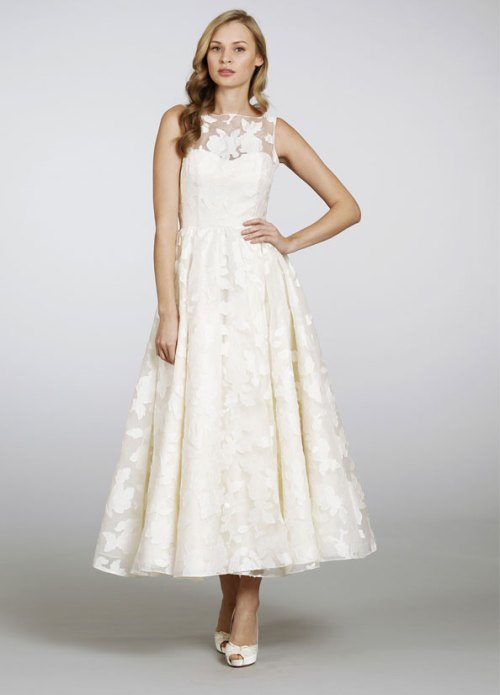 ivory silk organza brocade sheer tea-length bridal gown