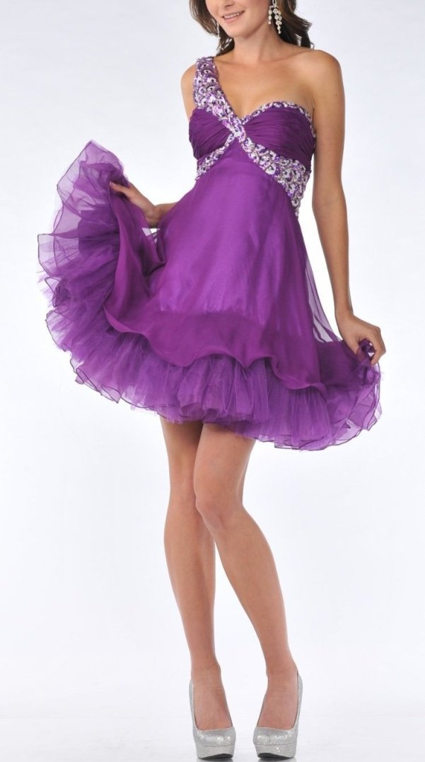 purple short prom dress