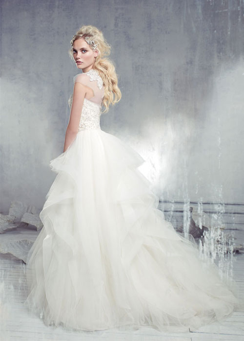 alvina valenta spring 2013 ivory tulle bridal gown with jeweled bodice