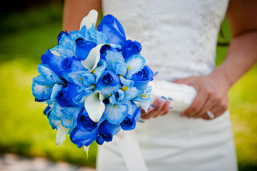 cute blue wedding flowers