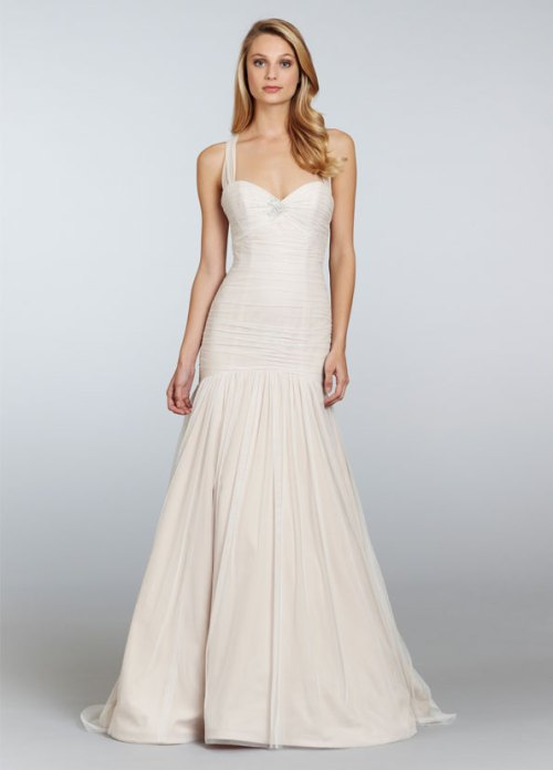 blush bridal gown with sheer straps
