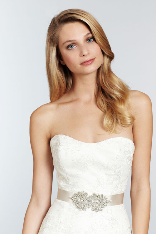blush ivory strapless bridal gown with metallic lace 03