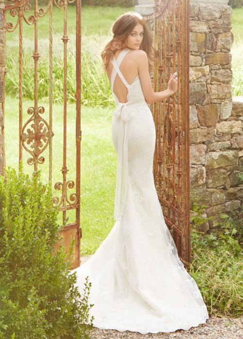blush ivory slim lace bridal gown fall 2013