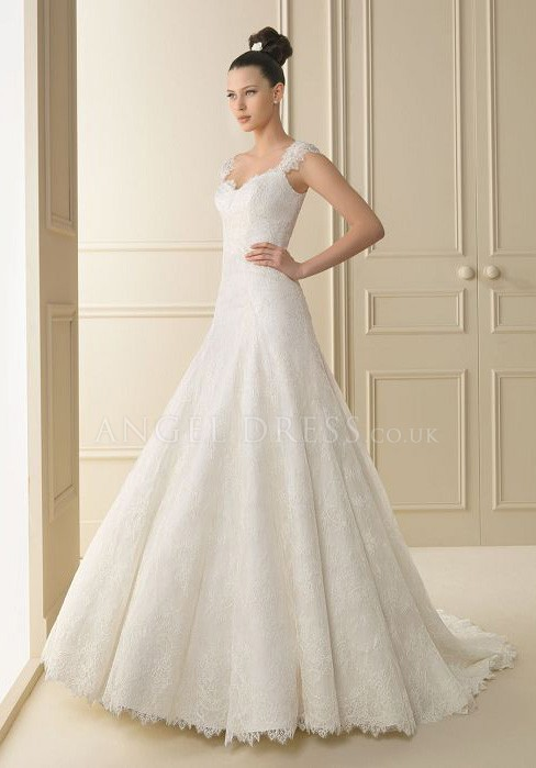 a-line lace wedding dresses with short sleeves