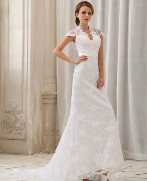 lace halter wedding dress with cap sleeves