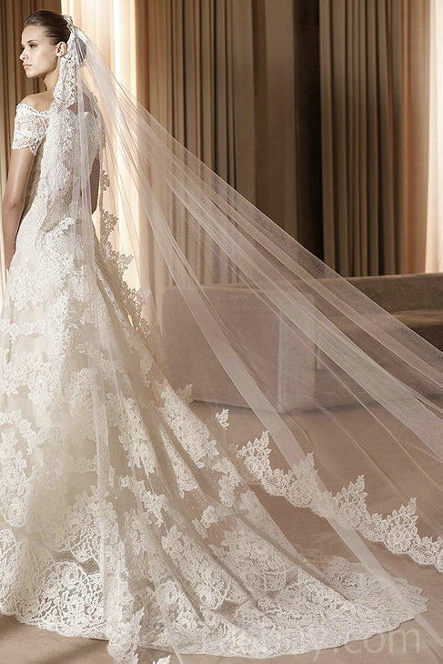 vintage lace off the shoulder wedding dress with a-line silhouette