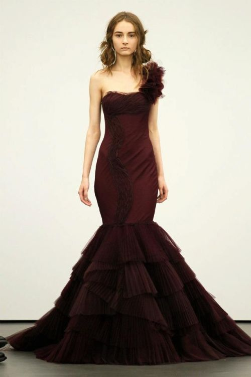 Vera Wang dark red mermaid wedding dress