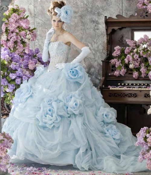 blue wedding dress with floral ball gown