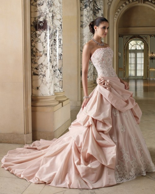 colored strapless wedding dress