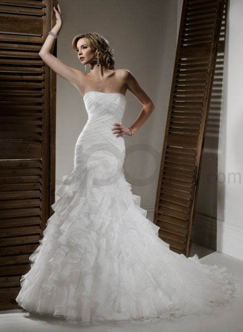 organza fit and flare wedding dress