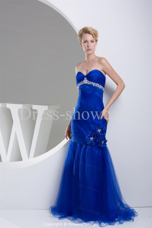royal blue mermaid sweetheart neckline wedding dress