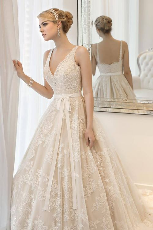 simple lace ball gown wedding dress