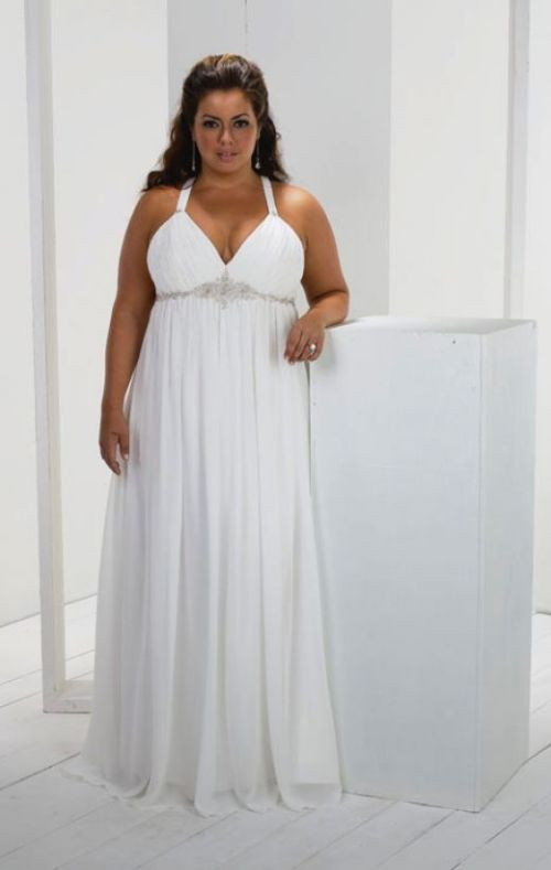 simple plus size wedding dress with spaghetti straps