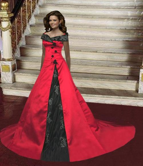 sophisticated red gothic wedding dresses