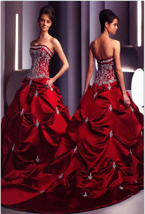 strapless embroidered red wedding dress with ball gown silhouette