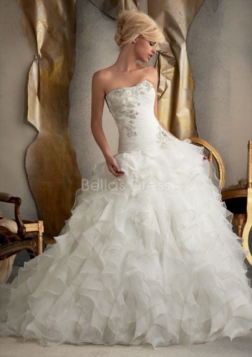 strapless organza dropped waist wedding dress with floor length