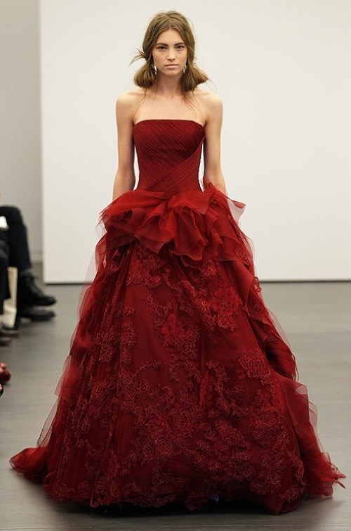 Vera Wang red strapless wedding dress with a-line silhouette
