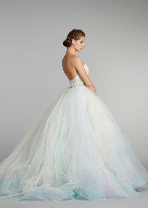 Lazaro strapless wedding dress with a hint of blue
