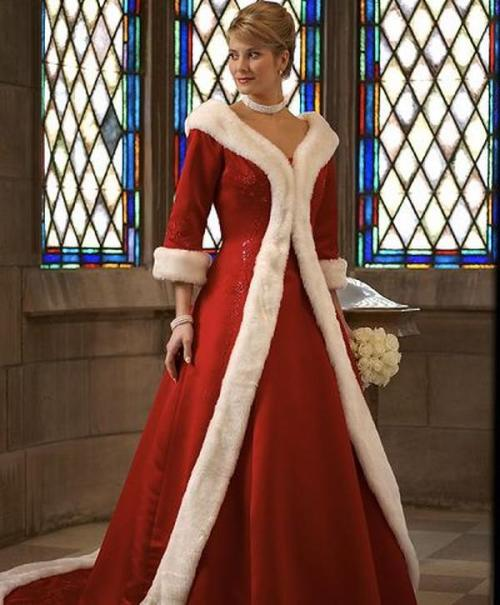 colored winter wedding dress with long sleeves