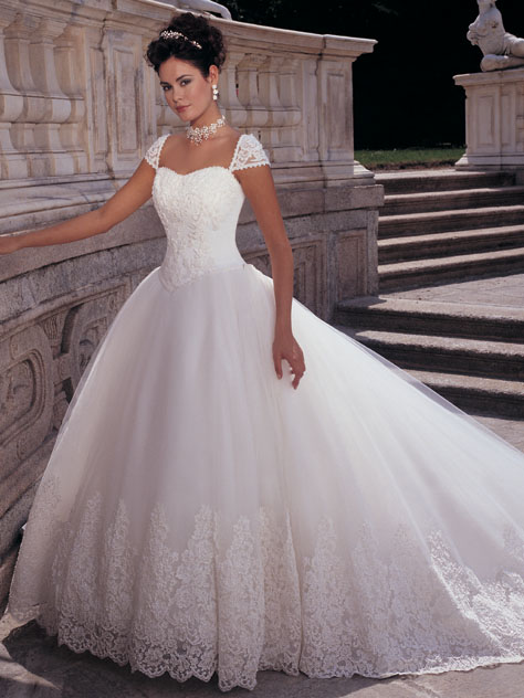 princess a-line wedding dress with lace cap sleeves