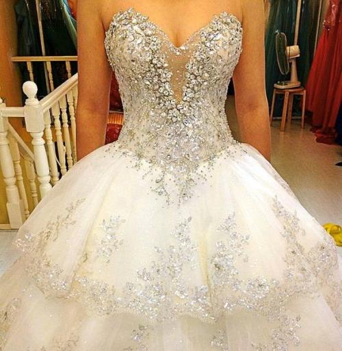 wedding dress with a lot of bling