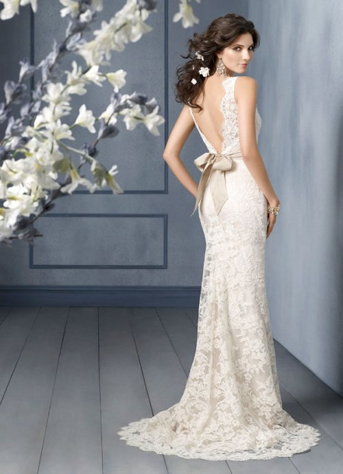 wedding dress with a low back