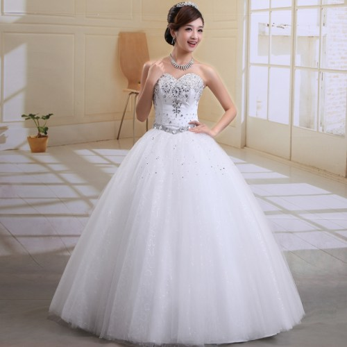white princess wedding dress with diamonds