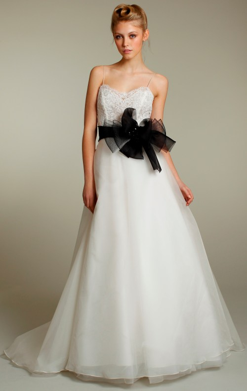 a-line wedding dress with black sash