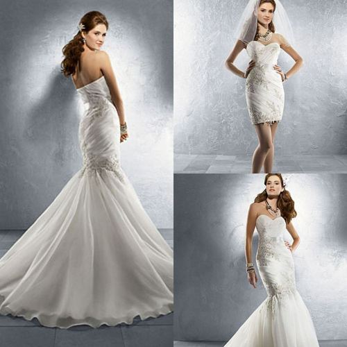 mermaid wedding dress with sweetheart neckline and detachable bottom