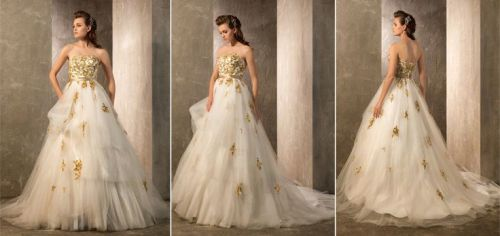 wedding dresses with gold accents