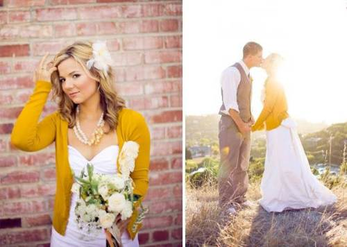 white sweetheart neckline wedding dress with yellow cardigan with long sleeves