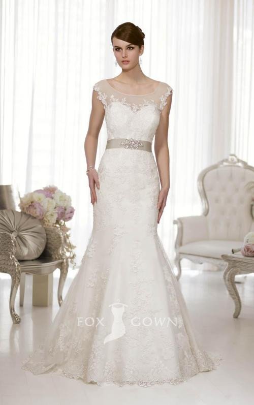 a-line sash lace wedding dress with illusion cap sleeves