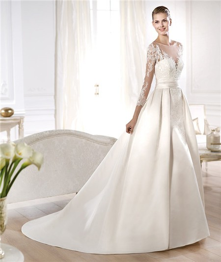 a-line wedding dress with illusion sleeves