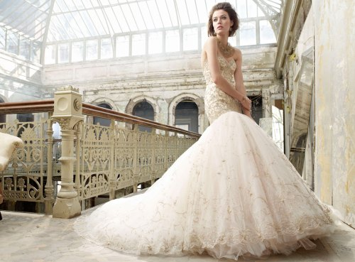 tulle ball gown embroidered gold wedding dress with chapel train
