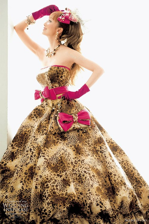wedding dress with leopard print