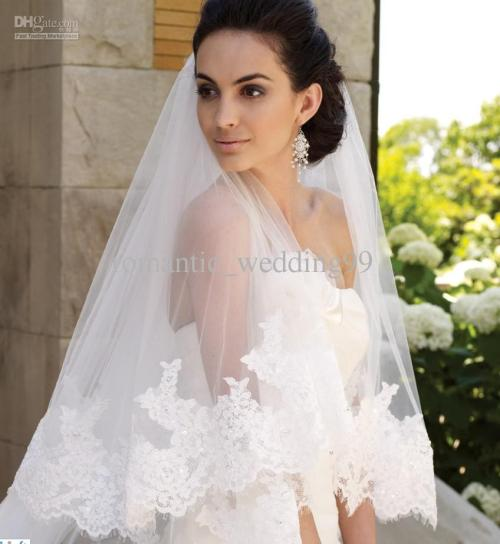 graceful lace cathedral length train white wedding veil