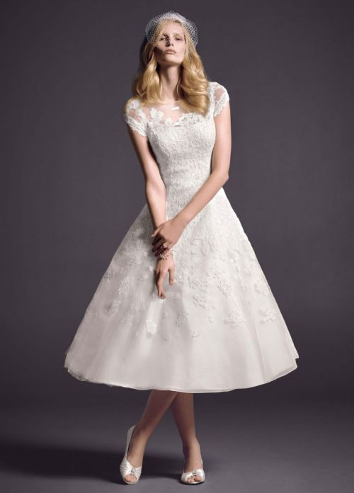 short ball gown wedding dress with cap sleeves